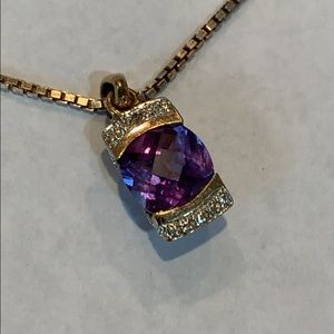 Jewelry - Sterling silver gold color cz purple stone long